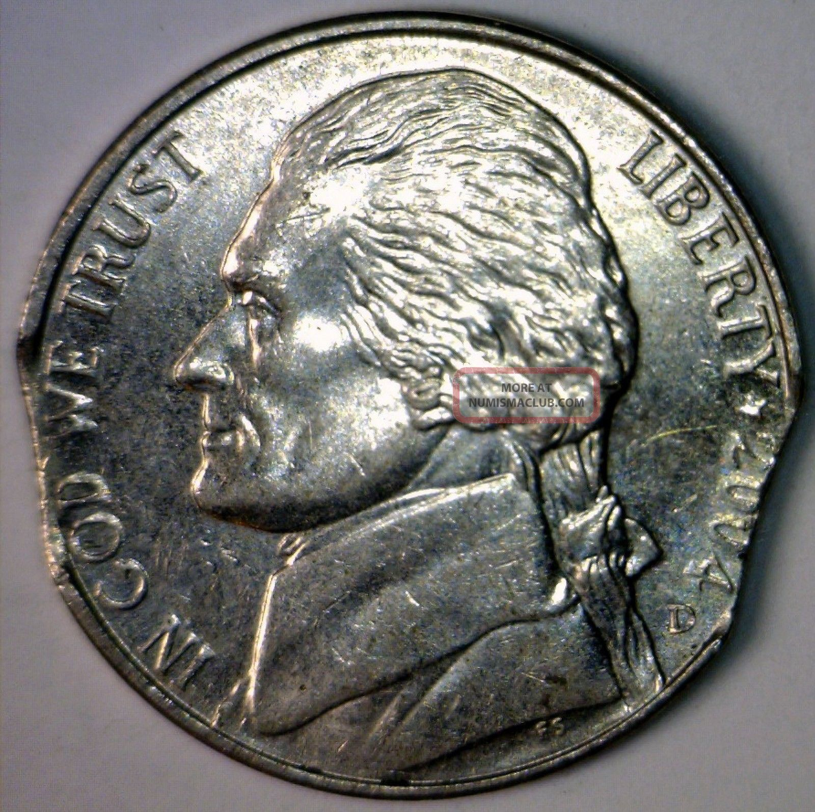 2004 D Error Double Clipped Ch Bu Jefferson Nickel Hand