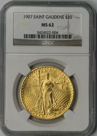 1907 Saint - Gaudens Gold Double Eagle $20 Ms 62 Ngc Mintage= 361,  667 photo