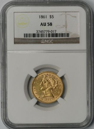 1861 Liberty Head Gold Half Eagle $5 Au 58 Ngc Civil War Date photo