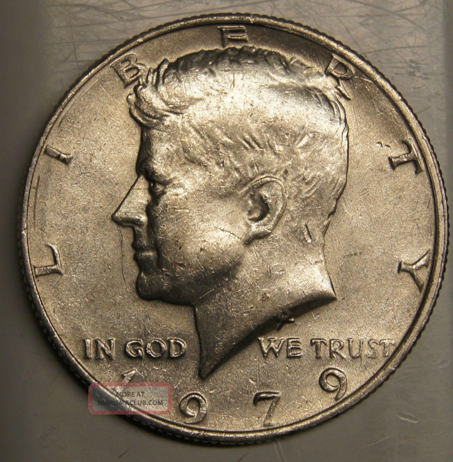 1979 50 Fifty Cents Kennedy Half Dollar - Grease Weak Strike Error