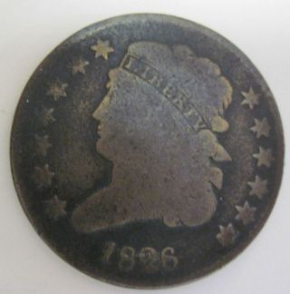 1826 Early Copper Half Cent 56a photo