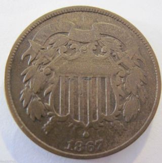 1867 Two Cent Coin Fast S&h 89b photo