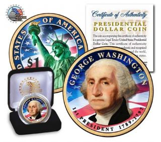 Uncirculated 2 Side Colorized Presidential Dollar Coin George Washinton /in Box photo