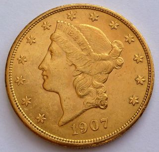 Usa 20 Gold Dollars Double Eagle 1907 33.  43 Gr.  0.  9675 Oz.  0.  900 Gold Au++ photo