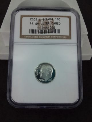 2001 S Proof 90/% Silver Roosevelt Dime Brilliant Uncirculated Deep Cameo DCAM