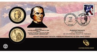 On P37 Andrew Johnson 2011 Presidential First Day Coin Cover,  Env photo
