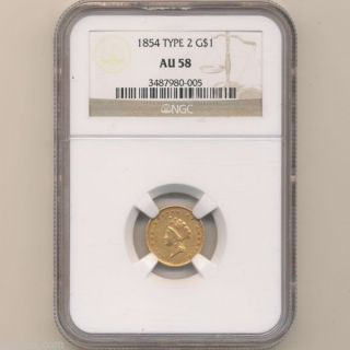 1854 $1 Indian Princess Gold Dollar Type 2 Small Head Ngc Au - 58 01105796d photo