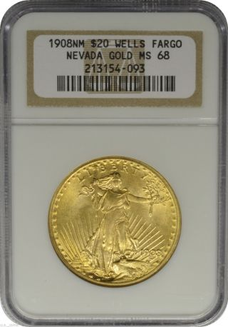 1908 Nm $20 Gold St Gaudens Double Eagle Ngc Ms68 Wells Fargo Eye Appeal photo