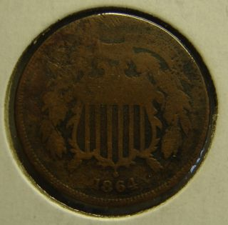 1864 Two Cent Coin A Rare Old Coin photo
