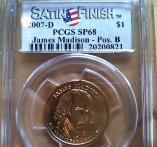 2007 - D $1 James Madison - Pos.  B Satin Finish (special Strike) Presidential. . . photo