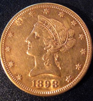 1898 Liberty Head Coronet Gold Eagle Coin photo