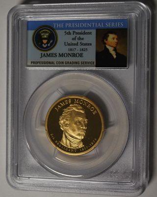 2008 - S James Monroe Presidential Dollar Pcgs Pr 70 Dcam photo