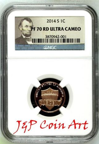 2014 S Lincoln Penny 1c Ngc Pf70 Rd Ultra Cameo Portrait Label photo