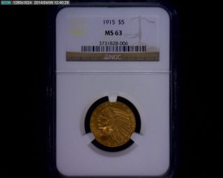 1915 $5 Indian Head Gold Half Eagle Ngc Ms63 Ms 63 United States Coin photo