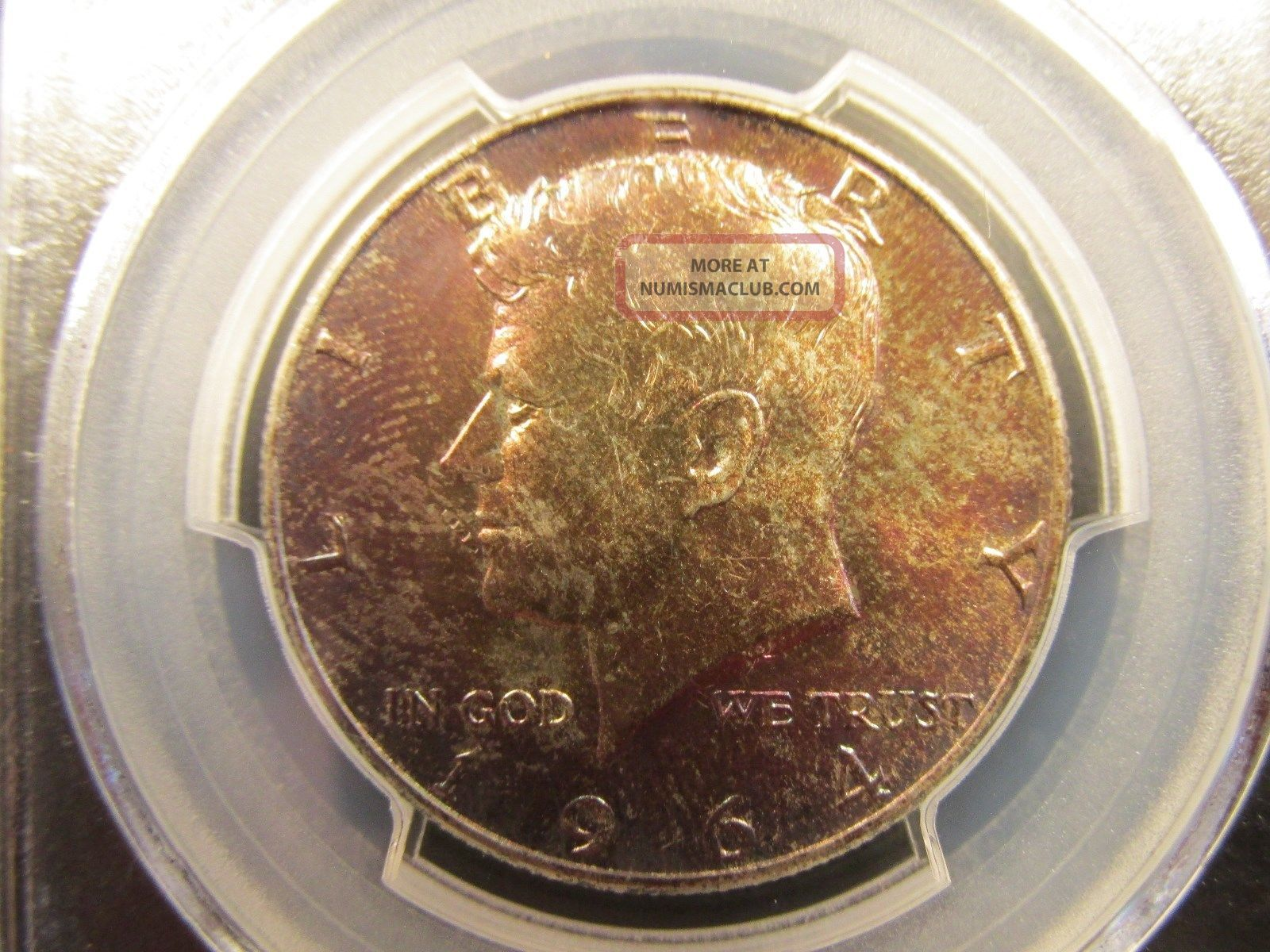 1964 - D Kennedy Half Dollar - Pcgs Ms64 - Brilliantly Toned