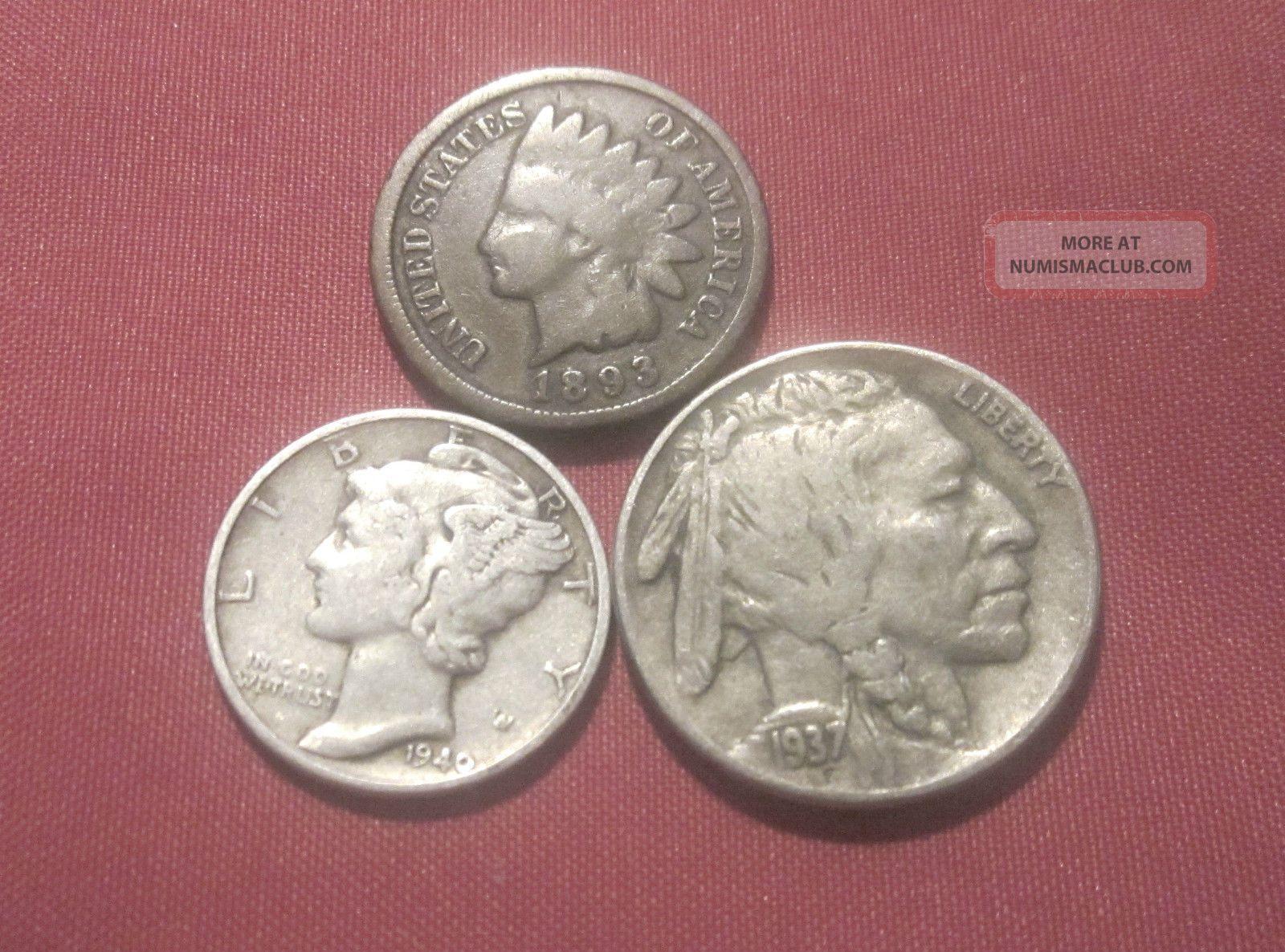 1893 Indian Cent G 1937 D Buffalo Nickel Au 1940 90 Silver Mercury Dime Vf