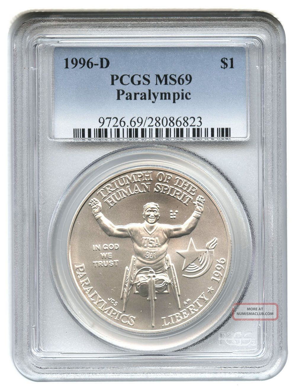 1996-P Wheel Chair Paralympic Silver Commemorative Dollar PR69DCAM PCGS Proof 69