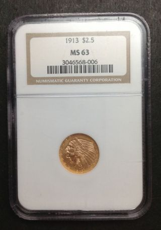 1913 Ngc Ms63 $2.  50 Gold Indian Head Coin photo