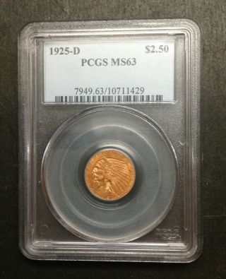 1925 - D Pcgs Ms63 $2.  50 Gold Indian Head Coin photo