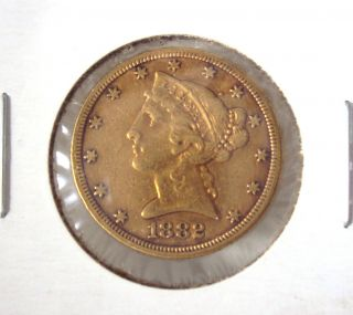 1882 $5 Five Dollar Liberty Head Half Eagle Gold Coin Variety 2 photo