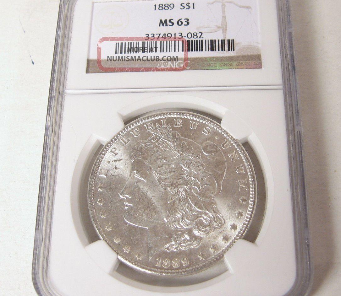 1889 P Morgan Silver Dollar Ms 63 Ngc Unc Philadelphia Usa