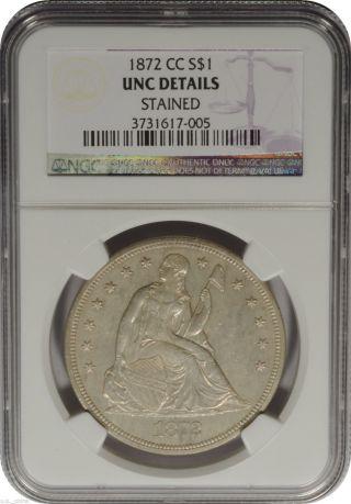 1872 - Cc $1 Seated Liberty Dollar Ngc Unc Details Rare Tough Date Sharp photo