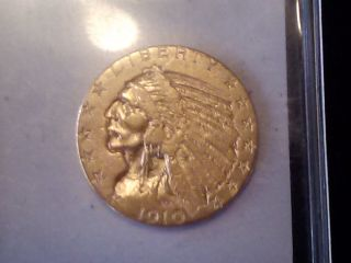 1910 Gold $5.  00 Indian Coin - Better Date - Very Fine photo