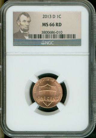 2013 - D Lincoln Shield Cent Ngc Ms66 Red photo