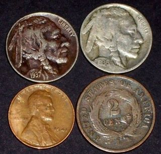 1864 Two Cent,  1936 - 37 Indian Head Nickles,  1941p Wheat Lincoln Cent photo