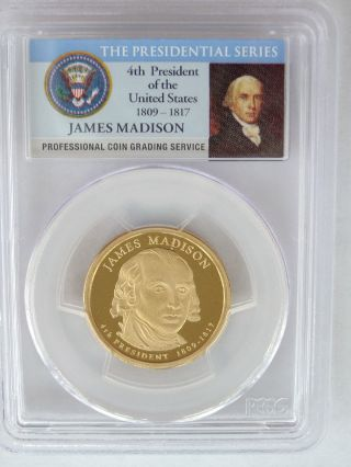 Pcgs 2007 S Proof James Madison 4th Presidential Dollar $1 Pf Pr69 Usa Coin photo