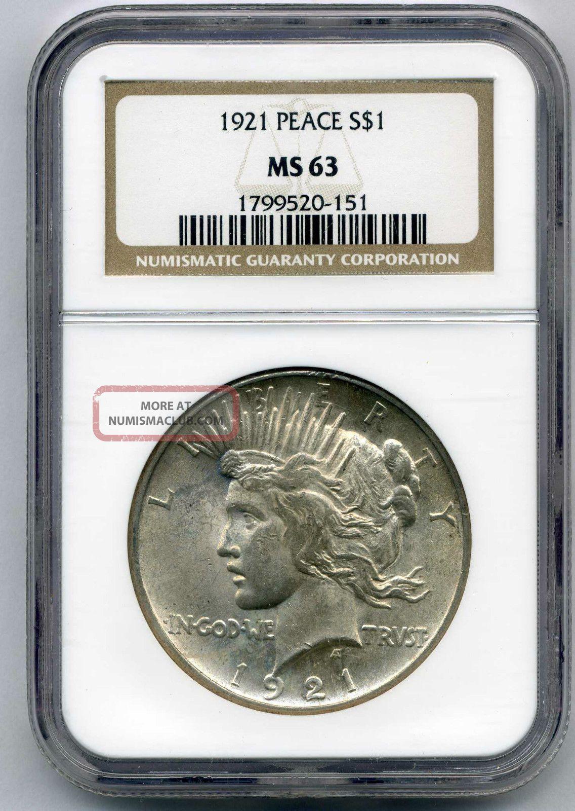 1921 Peace Dollar Ngc Ms - 63 Dollars photo