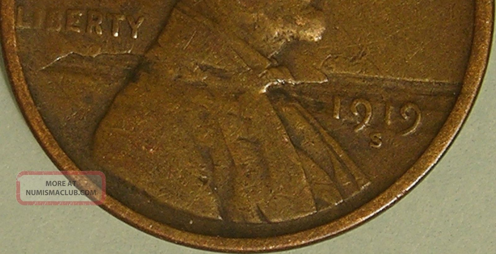 1919 S Lincoln Wheat Penny Lamination Before Strike