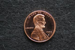 1999 S Proof Lincoln Cent Bright Mirror Fields High Relief Image photo