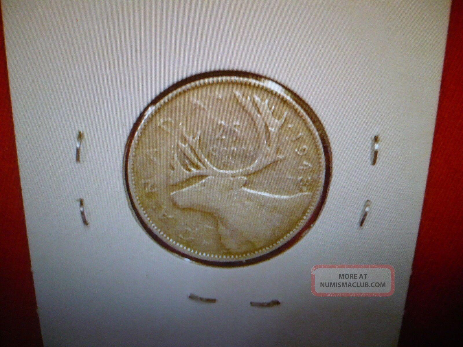 Silver 1943 Canada 25 Cents King George Vi Quarter Dollar Wwii Era Coin