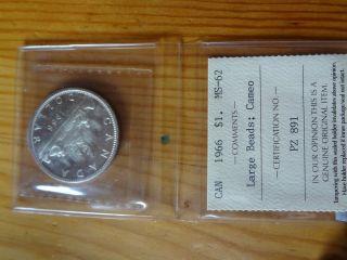 1966 Ms62 Lb Cameo $1 Canada photo