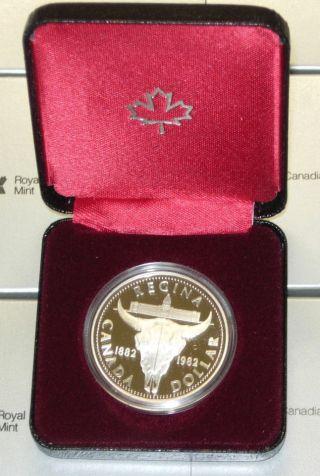 Canada 1882 - 1982 Regina Centennial Proof Silver Dollar In Case photo