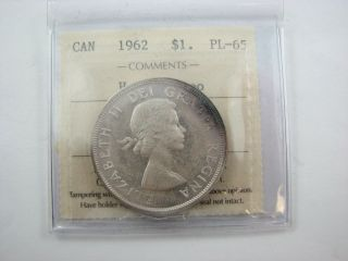 1962 Canada Dollar Heavy Cameo Silver Pl 65 Iccs photo