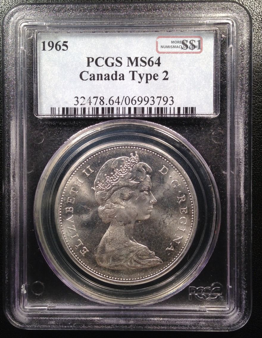 1965 Canadian Canada Silver Dollar Pcgs Ms64 Type 2 06993793 Coins: Canada photo
