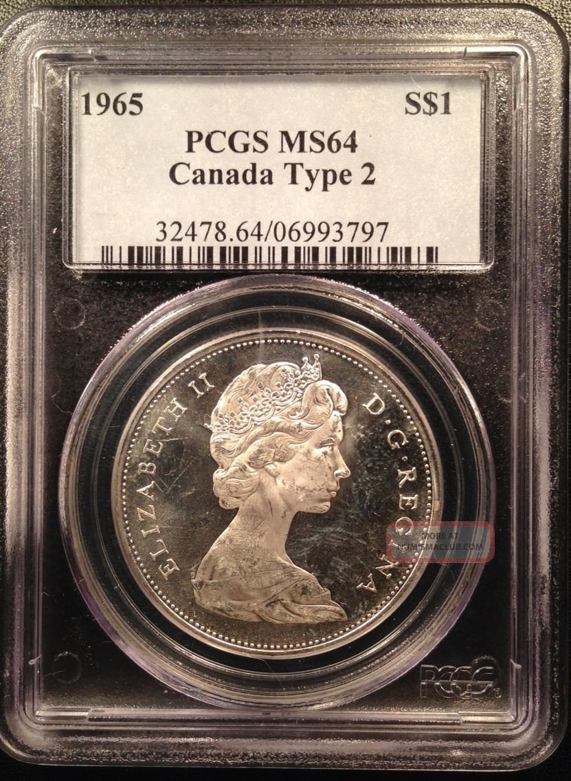 1965 Canadian Canada Silver Dollar Pcgs Ms64 Type 2 06993797 Coins: Canada photo