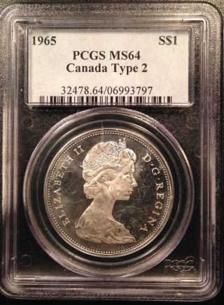1965 Canadian Canada Silver Dollar Pcgs Ms64 Type 2 06993797 photo