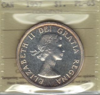 1957 Canada Silver Dollar Iccs Pl65 Beauty photo