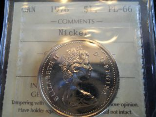 1976 Canada One Dollar Coin,  Iccs Pl - 66 Dj - Fwl Gem Coin With Full Lustre photo