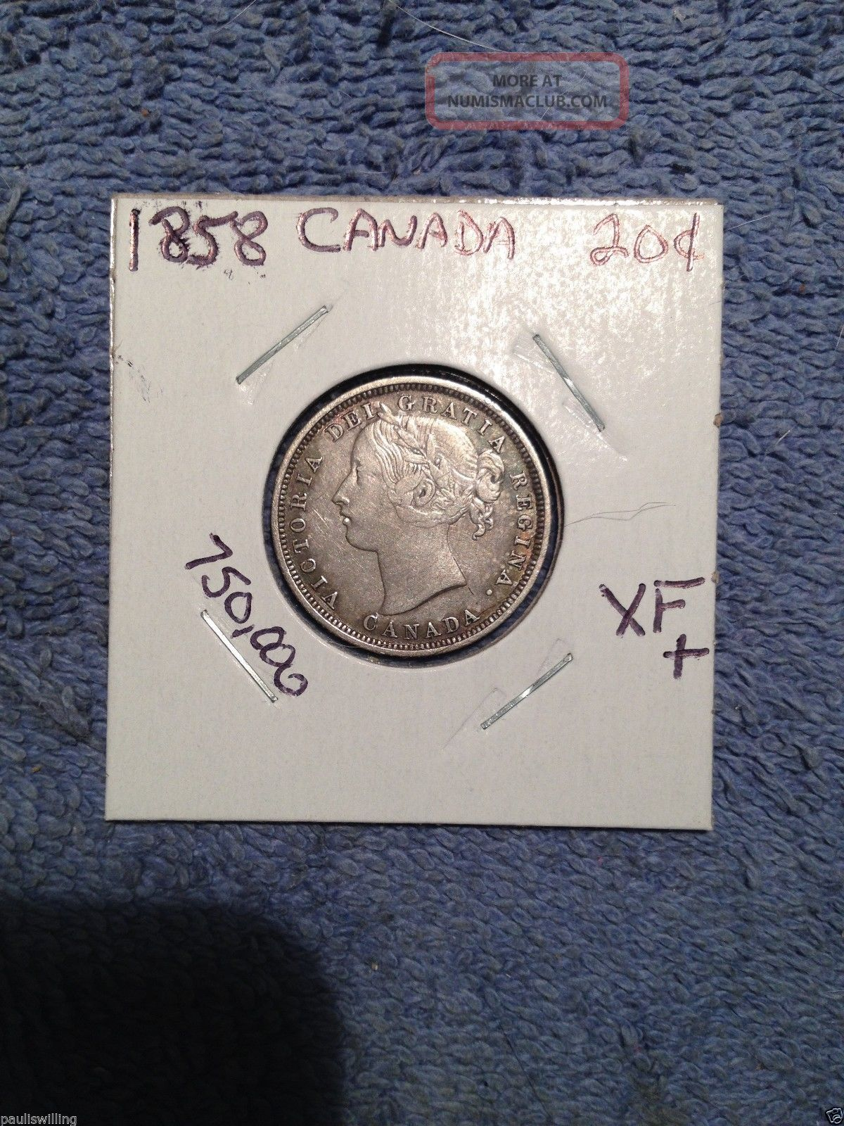 1858 Canada 20 Cent Silver Coin Sharp Coin 750,  000 Minted Coins: Canada photo