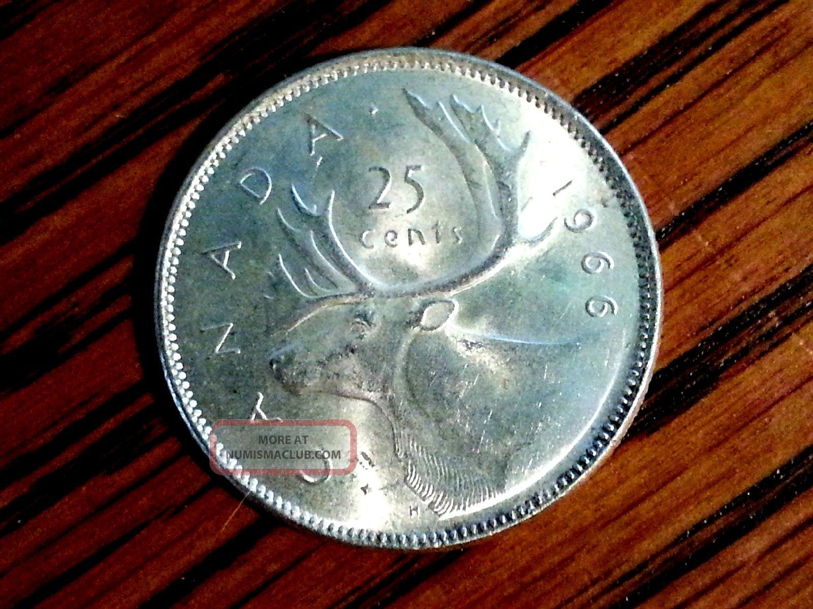 1966 Brilliant Queen Elizabeth Canada 25 Cent Coin 80 Silver
