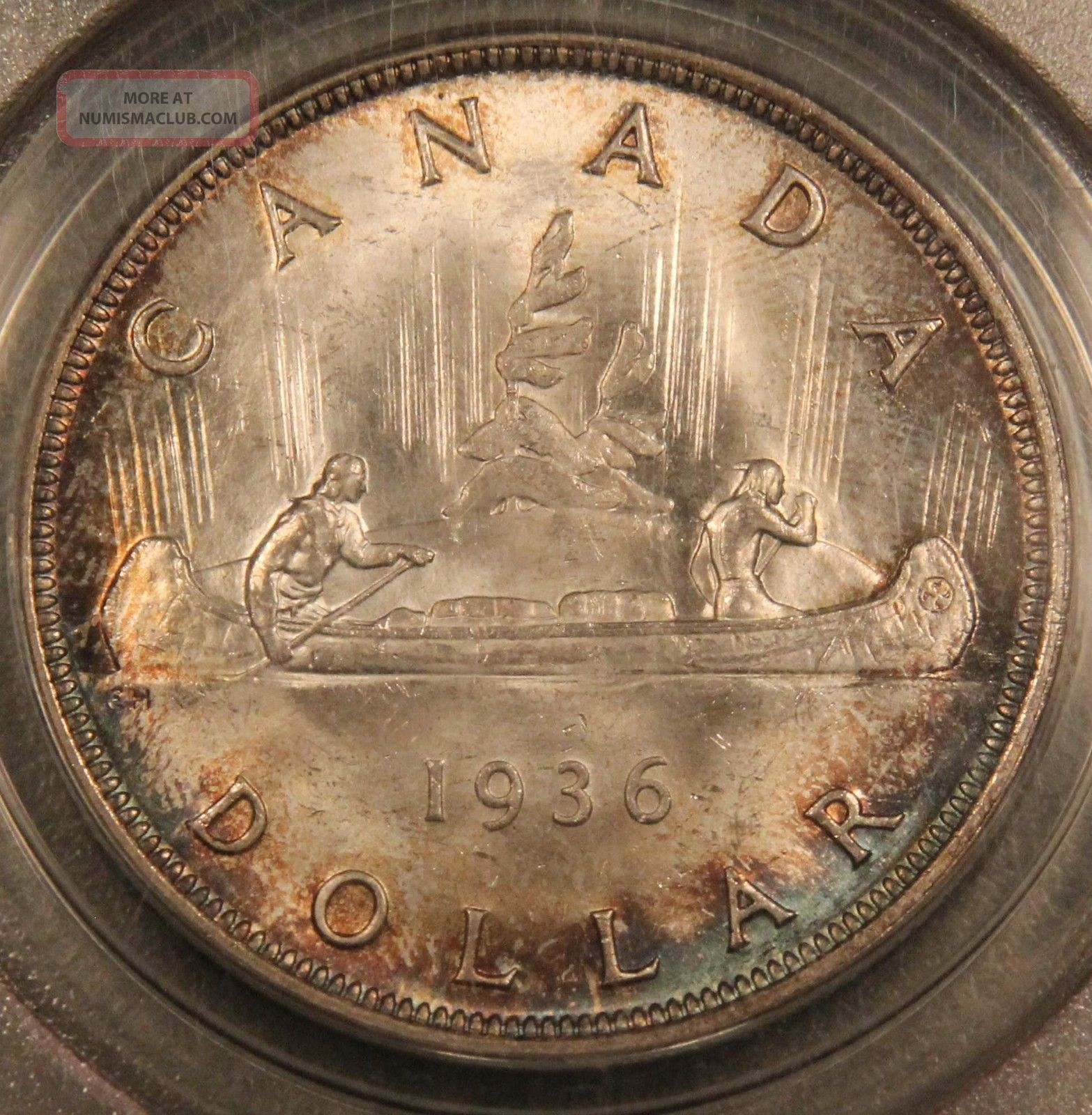 1936 Canada Silver Dollar Ms65 Pcgs Toned - Ogh Old Green Holder Coins: Canada photo