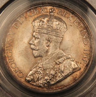 1936 Canada Silver Dollar Ms65 Pcgs - Golden Rim Toning,  Lusterous photo