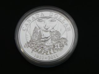 2011 Silver Bu Canadian 100th Anniversary Of Parks Canada $1 One Dollar photo