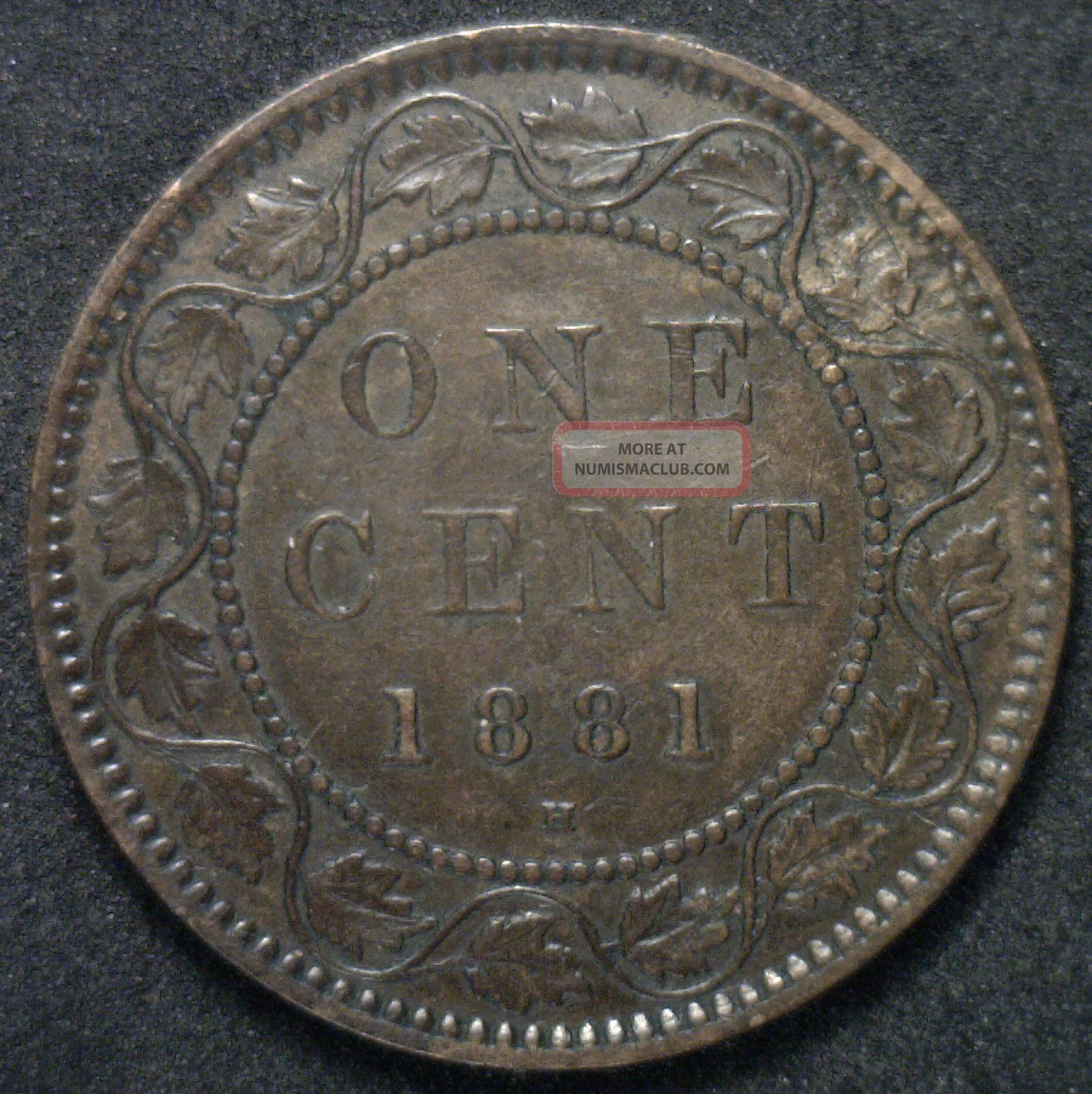 1881 H Canadian Large Cent Copper Coin One Cent Xf