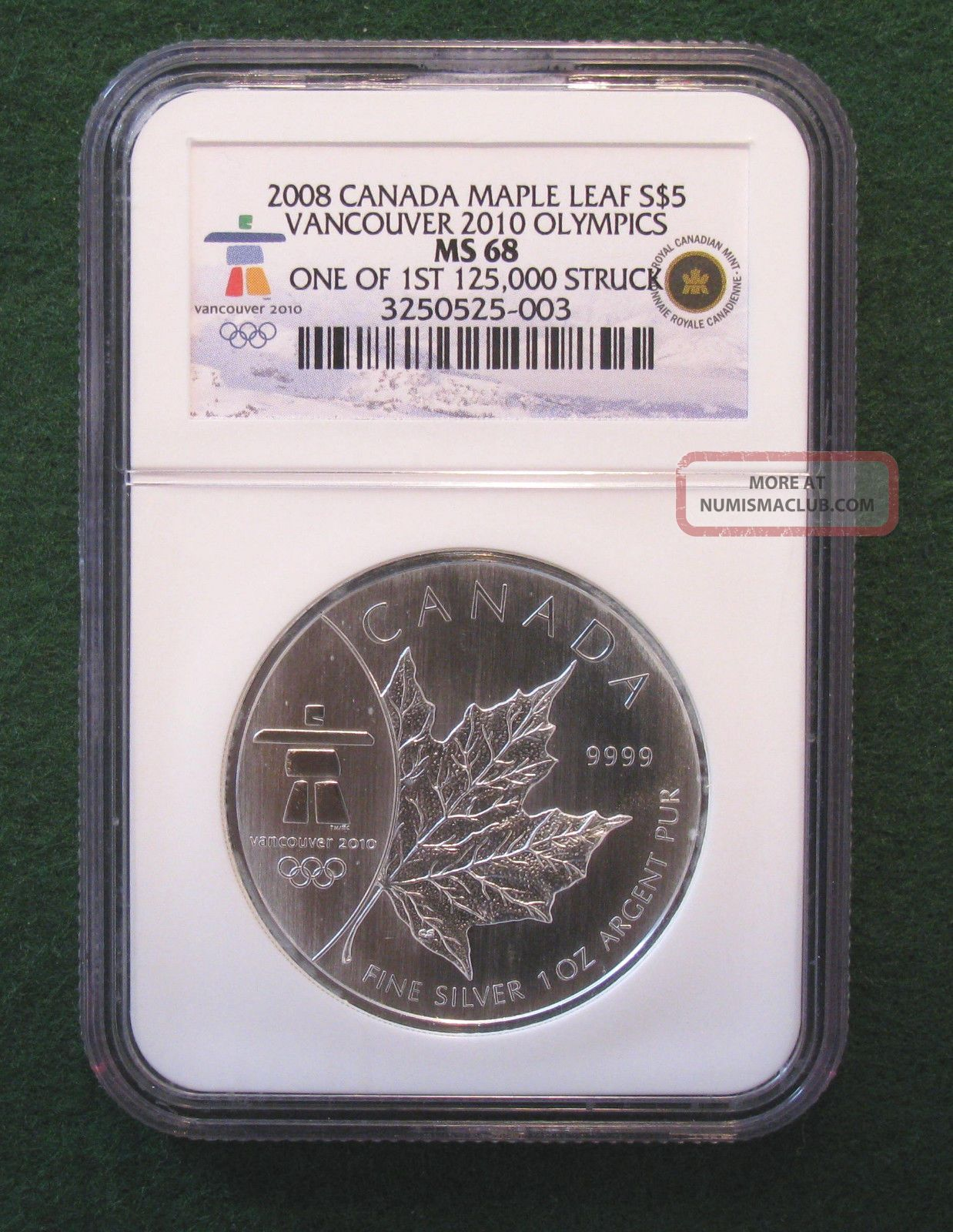 2008 Canada Maple Leaf $5 Vancouver 2010 Olympics Ngc Ms68 Coins: Canada photo