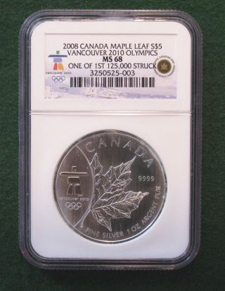 2008 Canada Maple Leaf $5 Vancouver 2010 Olympics Ngc Ms68 photo